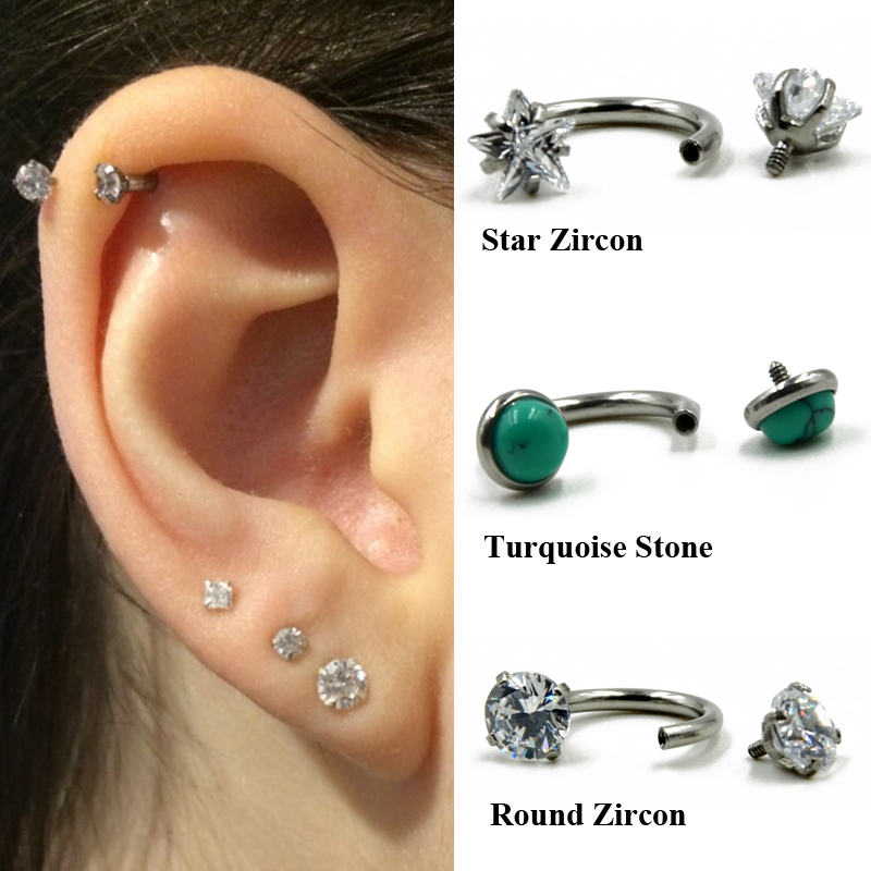 361L& Zircon Internal Circular Barbell Horseshoe