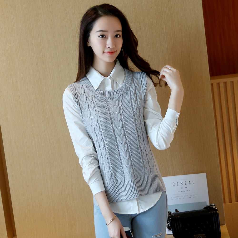 Casual new fashion women autumn spring sleeveless knitted vest sweater female loose pullover o-neck top girls Student style