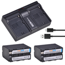 2Pcs 7200mAh NP-F970 NP-F960 NP F960 NPF970 F960 Battery + Dual USB Charger for Sony F930 F950 F770 F570 F970 CCD-RV100 HVR-V1J