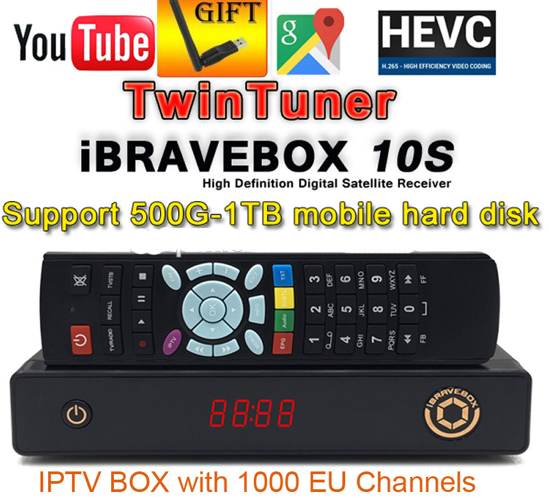 iBRAVEBOX F10S+1year Subscribe+1pc wifi H.265 Ultra IPTV box Satellite TV Receiver Europe Arabic IPTV BOX than IP-S2