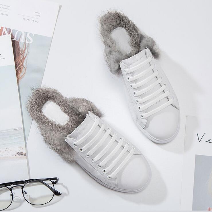 Sur Chaussures Paresseux De Pantoufles Bout Up Slip Cuir Laine Femmes Blanc Mocassins En Lace Rond Véritable White Diapositives Mode Dames D'été 7nvwCqxB