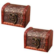 2Pcs Jewelry Box Vintage Wood Handmade Box With Mini Metal Lock For Storing Jewelry Treasure Pearl Small box of candy boxes @16(China)