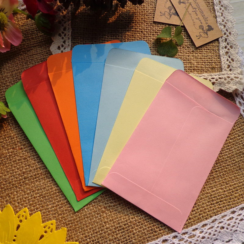 20pcs Colored Blank Mini Paper Envelopes 10 Candy colors Envelopes Wedding Party Invitation Greeting Cards Paper Gift bag