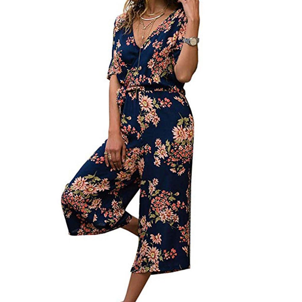 Women Ladies Boho Monos Jumpsuit Largos Mujer Pantalon Largo Floral Printed V-Neck Lace Up Short Sleeve Summer Short Jumpsuit