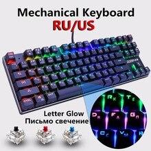 Mechaniczna klawiatura gamingowa niebieski czerwony przełącznik 87key RU/US przewodowa klawiatura Anti ghosting RGB/ Mix podświetlany LED USB dla graczy PC Laptop
