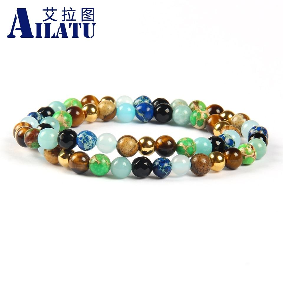 Ailatu New Two Circles Jewelry Wholesale 10pcs lot Mix Colors 6mm Blue Green Sea Sediment Stone