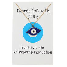 цена Blue Evil Eye Necklace Hamsa Hand Long Links Chain Necklace Gold Silver Color Femme Bijoux Fashion Men Women Jewelry Gift онлайн в 2017 году