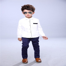 Students shirt children's clothing cotton Peter Pan autumn collar Long-Sleeve Shirt White solid boy blouses