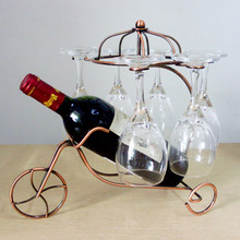 Vintage Tricycle Red Wine Bottle Glasses Holder Hanging Upside Down Cup Goblets Display Wedding Dinner Table Decoration ZA1587