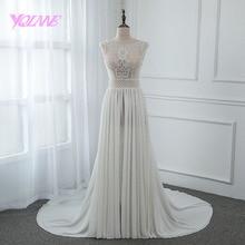 YQLNNE Wedding-Dress Bridal-Gown Chiffon Zipper Back Illusion Embroidered