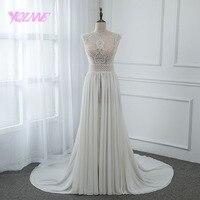 YQLNNE 2018 Illusion Embroidered Wedding Dress Chiffon Beading Zipper Back Bridal Gown