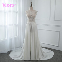 YQLNNE 2018 Illusion Embroidered Wedding Dress Chiffon Beading Zipper Back Bridal Gown