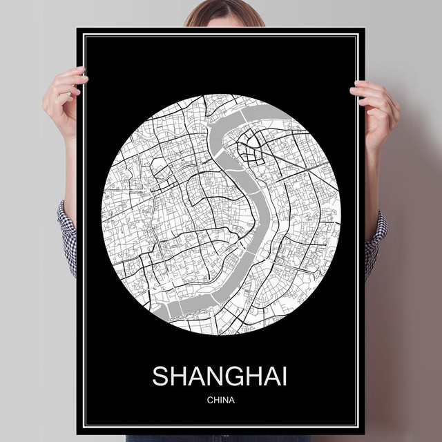 China Map Poster.Black White City Map Of Shanghai China Print Poster Print On Paper