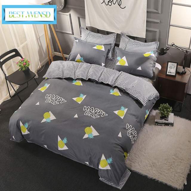 Wensd Lovely Pinele Quilt Cover Set Microfiber Fiber Home Textiles Duvet With Corner Ties Queen Comforter Sets