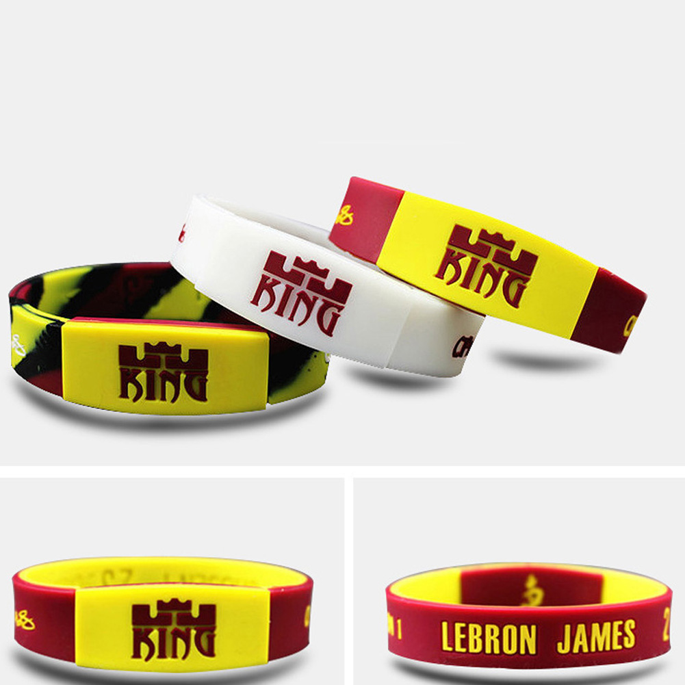 Lebron James Glow In The Dark Silicone Bangle Sport Wristband Basketball Player Rubber Bracelets With 3 Color Charm From Jewelry