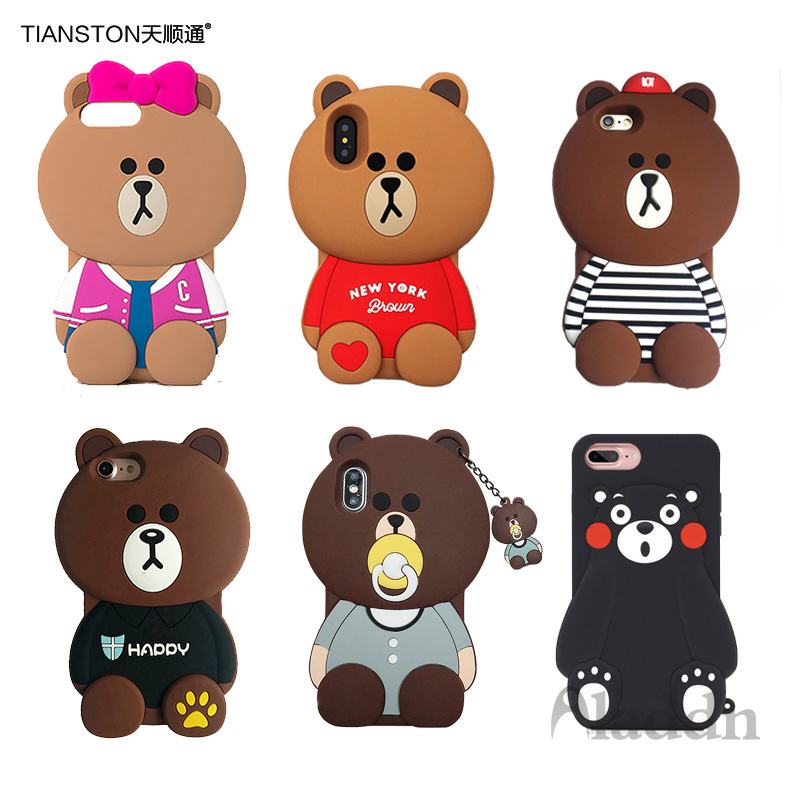 Galleria fotografica Soft Cartoon Bear Silicone Case for iPhone X 6 7 8 Plus Cover 3D Phone Fundas for Apple X 6 7 8 Plus Rubber Cute Case Coque
