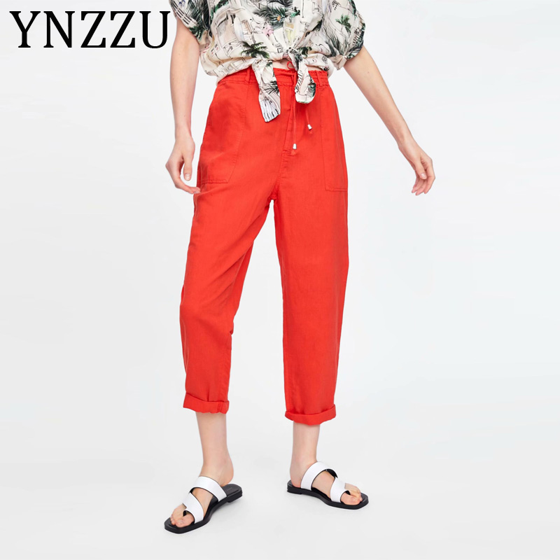 YNZZU Korean Streetwear Cargo   Pants   Women Casual Joggers Red High Waist Drawstring Loose Female Trousers Lady   Pants     Capri   AB160