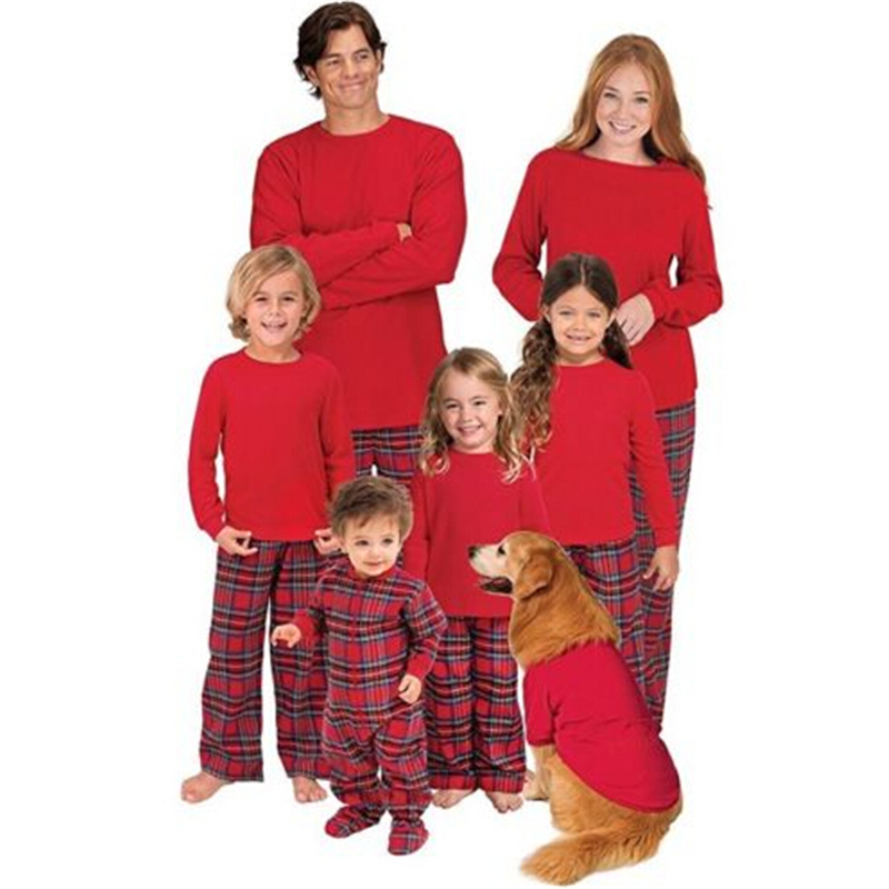 Matching Christmas Pjs.Us 5 52 16 Off Family Matching Christmas Pajamas Cute Sleepwear Nightwear Tops Plaid Pants 2017 New Costume Clothes Xmas Family Match Pjs Set In
