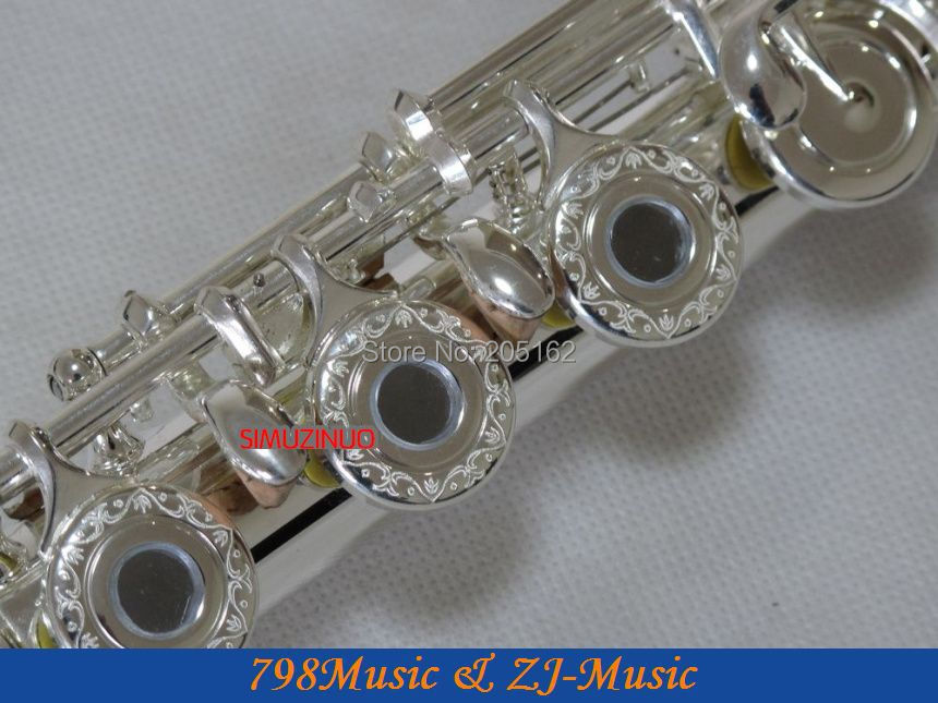 Flute C Foot-Open Hole-Split-E-Offset-G-Prata Carve Patterns em - Instrumentos musicais