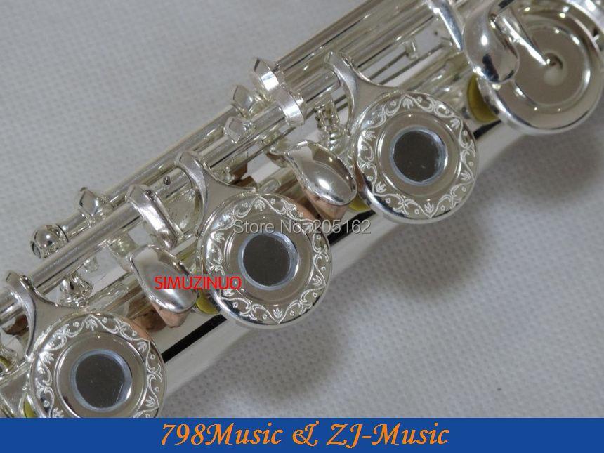 Fluit C Voet-open gat-Split-E-offset-G-verzilverd Carve patronen op toetsen-No.4