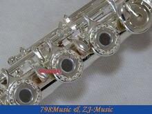 Flute C Foot-Open Hole-Split-E-Offset-G-Silver Plated Carve Patterns on Keys-No.4