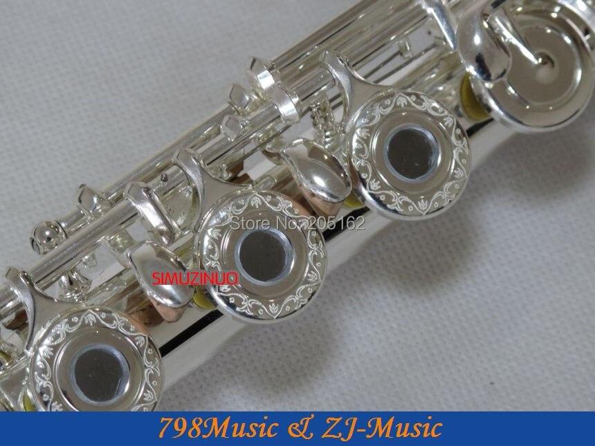 Aberto-split-e-offset-g-banhado a Prata Padrões em Keys-no.4 Flauta Pé-buraco Esculpir c
