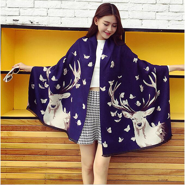 2017 Designer Pashmina High Quality Woven Long Scarf for Elegant Lady Lovely Animal Deer Shawl