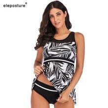 2020 Tankini Swimsuits Plus Size Swimwear Women Two Piece Swimsuit High Waist Bathing Suits Summer Beach Wear Swimming Suit 5XL