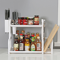 050 Multifunctional Trapezoidal kitchen double-layer rack knife holder for chopsticks storage