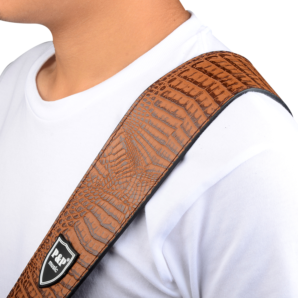 Brown Alligator Grain Guitar Belt PU Leather Guitar Strap For Acoustic Electric Guitar and Bass  S588-B keoghs motorcycle brake clutch levers short lever cnc aluminum adjustable for yamaha mt03 mt07 mt09 r3 gold red blue balck