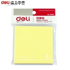 10 Packs Memo Pads Stickers Self-Adhesive Sticky Notes 4 Colors In One Post It Office And Business Deli 9082