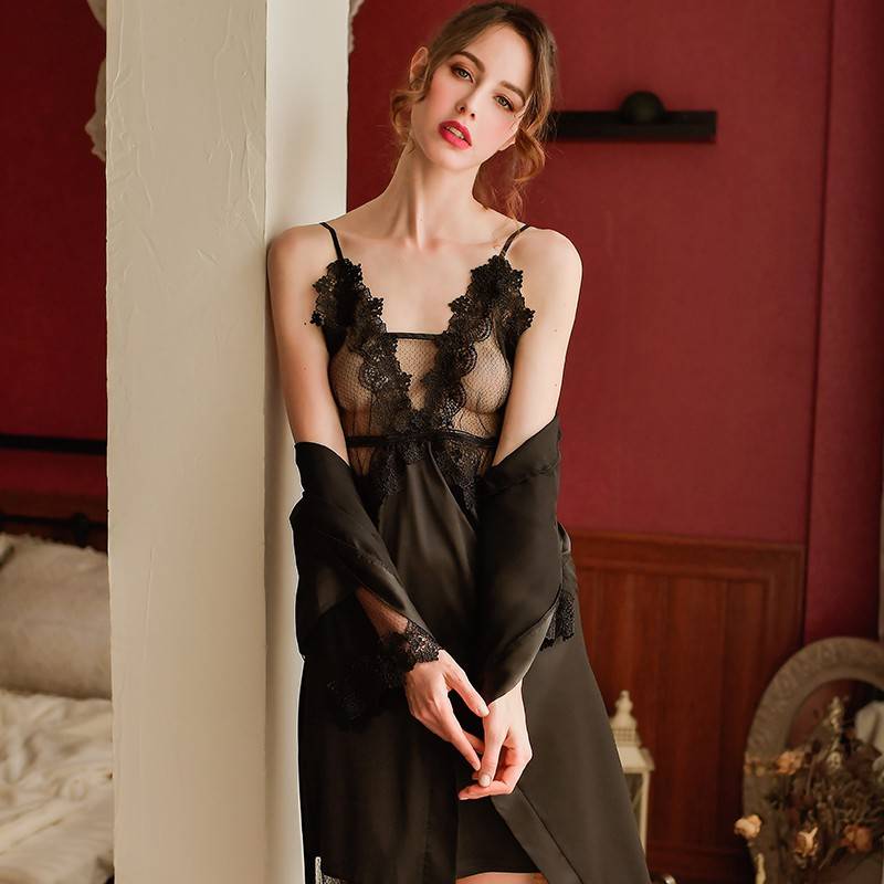 New sexy strap lace nightdress female summer home service simulation silk loose robe large size suit(China)