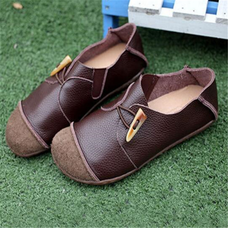 Whensinger 2018 Woman Shoes Female Genuine Leather Shoes Vintage Elegant Fashion D1505 0309 Casual sneakers in Women 39 s Flats from Shoes