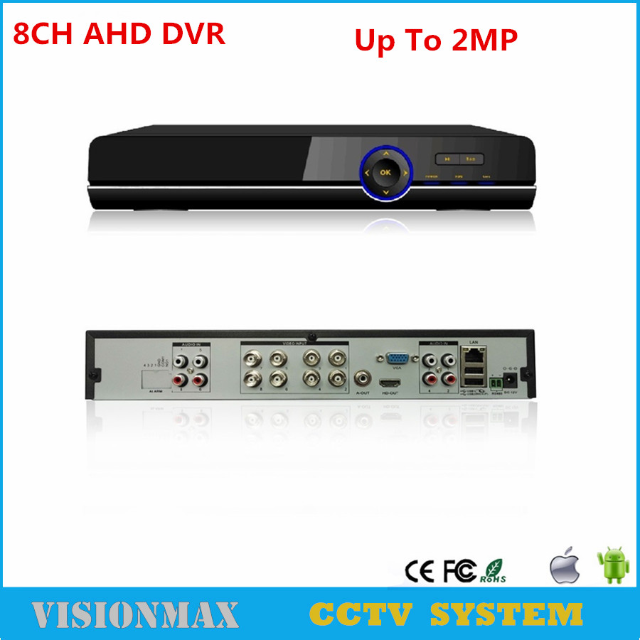 Full HD 8CH AHD TVI CVI DVR Audio surveillance H.264 DVR recorder Up to 2MP Onvif HDMI P2P for AHD Analog Camera Security System 5 in 1 security cctv dvr 4ch ahd 1080n h 264 hybrid video recorder for ahd tvi cvi analog ip camera onvif hdmi 1080p output