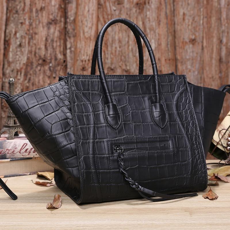 Famous brand ears messenger Bags Genuine leather women's handbag 2017 bat crocodile leather smiley face shoulder bag tote