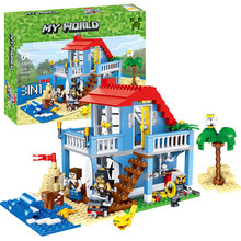 470PCS 3IN1 MY World Beach House Building Blocks Sets Minecrafted City Creator Bricks DIY Toys For Children diy building blocks bricks my world compatible legoed minecrafted set steve alex reuben figures city toy for children