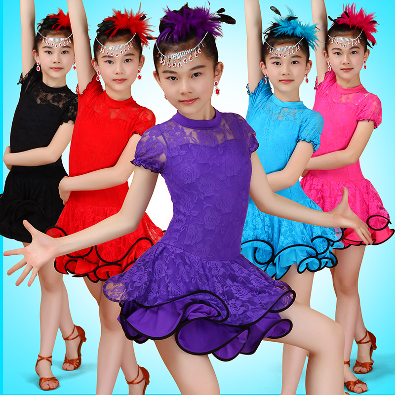 Latin Dance Dress Girls Lace Short Sleeve Competition Ballroom Dancing Dresses Kids Samba Salsa Practice Wear Dancewear DN2216