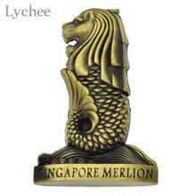 Imán de nevera Vintage Merlion de singapur, recuerdos de viaje, pegatina magnética, regalo, Lychee Life