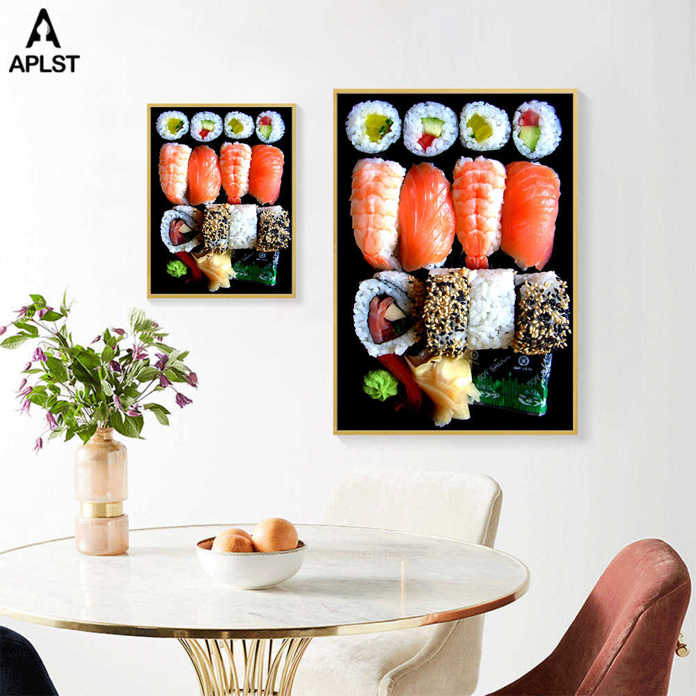Japon gıda suşi posterler Modern restoran yemek salonu dekorasyon somon karides tuval baskılar duvar resmi resim ev çıkartmaları