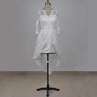 Custom Made Service Real Photo V Neckline Ivory Lace Appliqued Half Sleeves Short Wedding Dress 2017