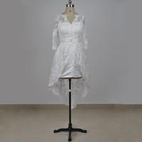 Real photo vestido de novia corto 2017 V escote de encaje con aplicaciones alto bajo vestido de novia de longitud de té bridals partido vestido medio manga