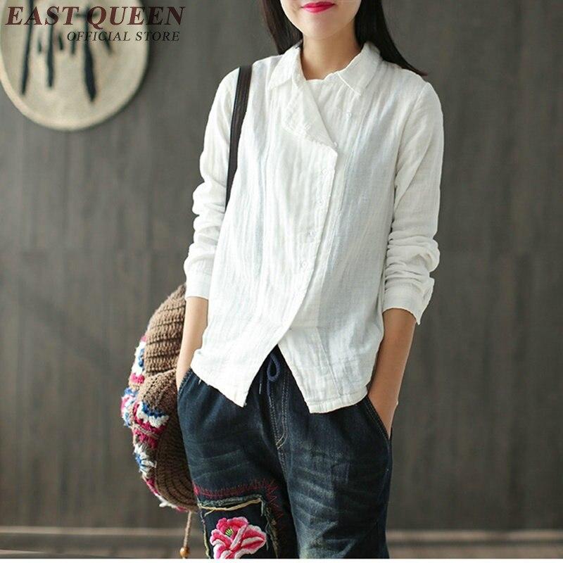 Chemise chinoise femmes vêtements traditionnels chinois chemise en lin femmes vêtements en lin col mandarin cheongsam chemise haute KK400