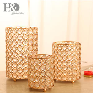 Hyalineu0026Dora 3pcs Crystal Candle Home Decorations Holders