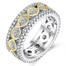 Huitan Women Ring Band DNA Strands Shaped Creative Infinity Lucky Life Jewelry Birthday Gift For Femme Latest