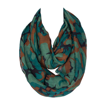 2017 New Fashion Design Women Camouflage Printing Ring Scarf Lady Loop scarfs for women infinity green orange gray175*45cm