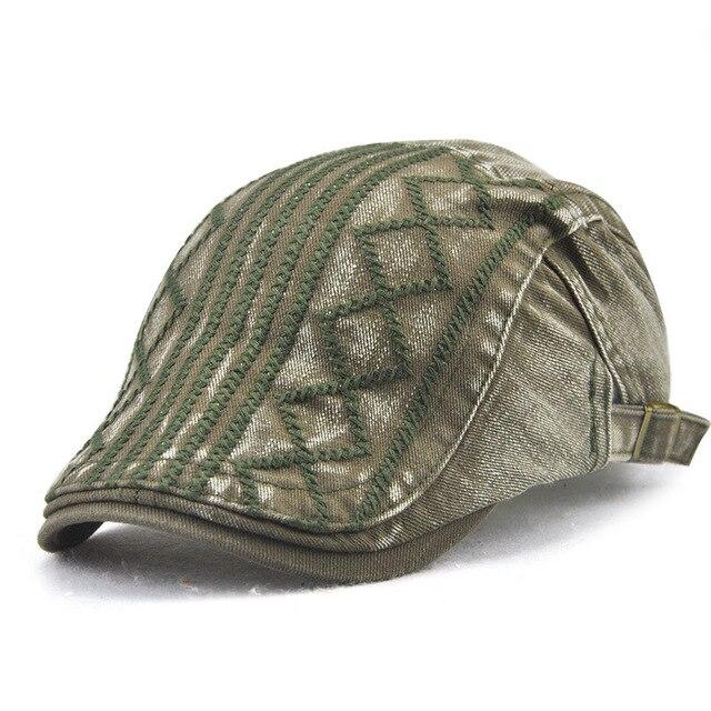 Béret en Denim pour hommes et femmes   Chapeau de haute qualité en Denim décontracté unisexe, casquette coupe droite avec visière