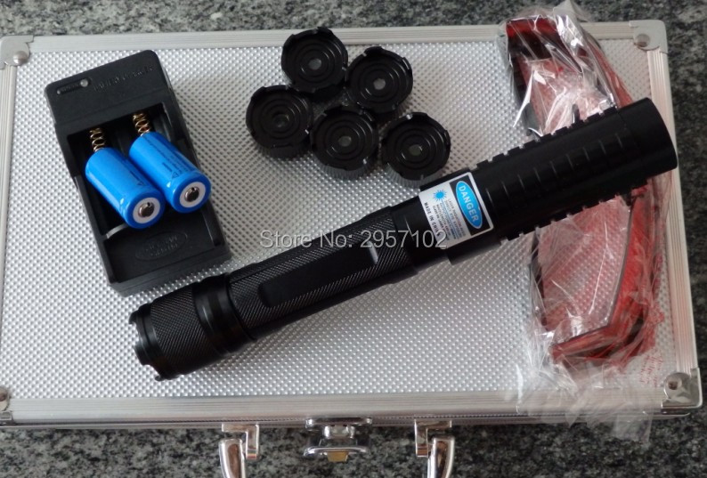 5in1 Strong power military 50w 50000m 450nm Blue laser pointer Burning Match candle lit cigarette wicked Lazer Torch+Glasses high power military 450nm blue laser pointer 60000mw flashlight burn match candle lit cigarette wicked lazer torch 5 caps glass