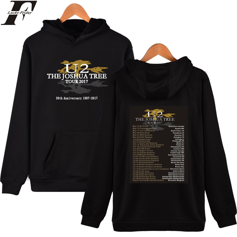 LUCKYFRIDAYF U2 Mens Hoodies And Sweatshirts Hip Hop Irish Popular Rock Band Casual Hooded Sweatshirt Men Fashion Black Clothes