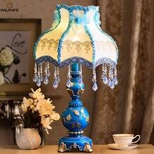 купить Nordic Retro Table Lamps Wedding Lighting Bedroom Bedside Lamp Table Classical Warm Home Decor Blue Resin Country Desk Lights дешево