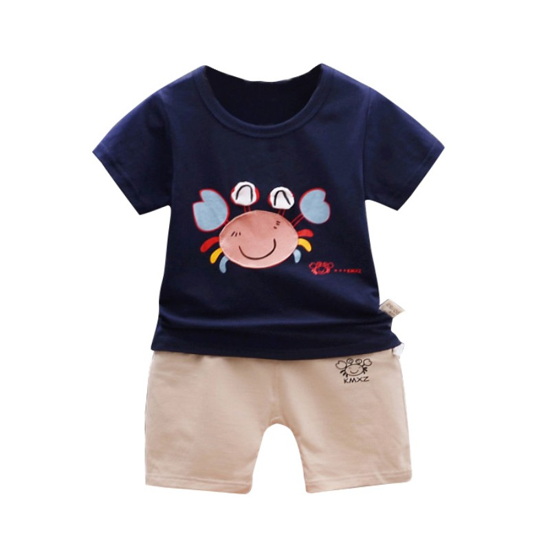 Cool Summer Baby Sets Cute Boys Girls Crab Print Short Sleeve Pants Two Pieces Casual Suit New Arrival Kids Baby Clothes